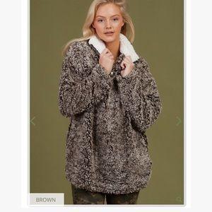 Altar'd state brown Sherpa Winn half zip pullover